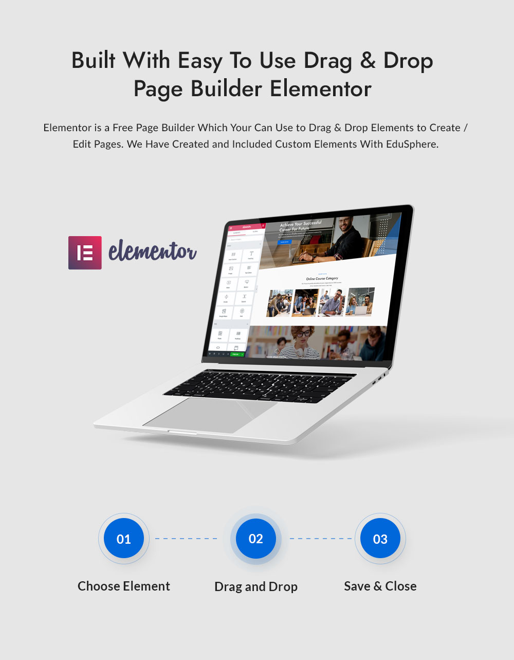 Drag and Drop Page Builder Elementor